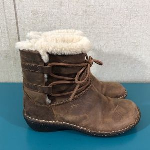 UGG Brown Lace Up Leather Caspia Boots